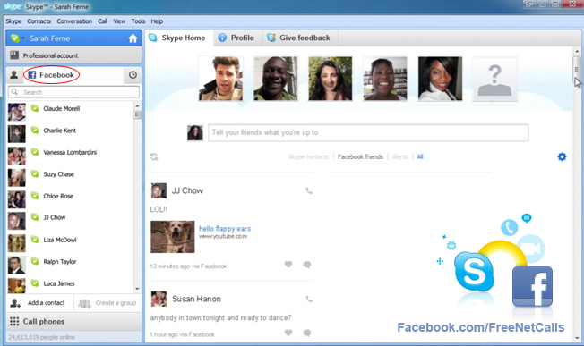 make free calls with your facebook friends over skype